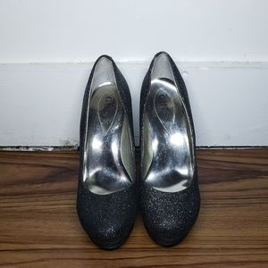 Black Heels with Gray Sparkels Allover